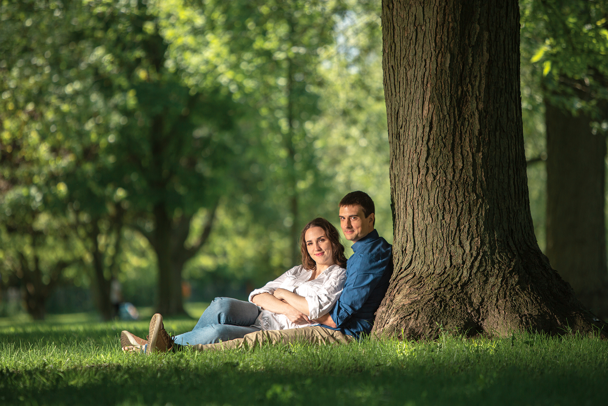 This image shows how we shoot engagement photos in a Toronto park