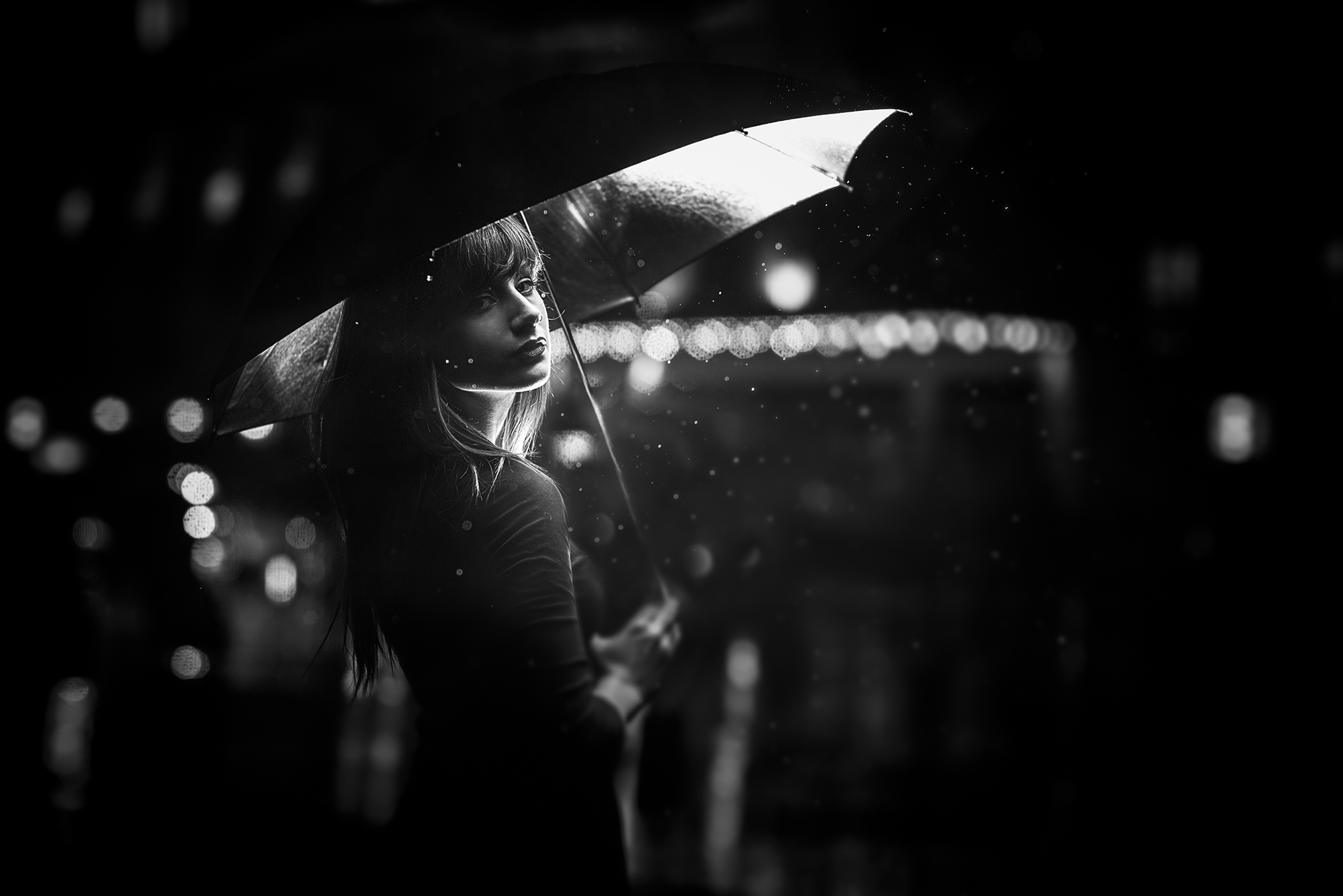 This image of Dana in rainy Toronto weather, is used to display our amazing black and white model photography.